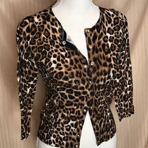 WHBM SMALL ANIMAL PRINT BUTTON FRONT CARDIGAN